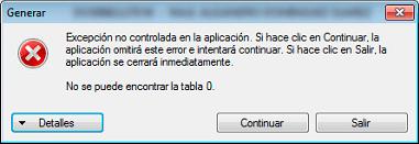 Solución al Error - No se puede encontrar la tabla 0