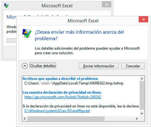Microsoft Excel no responde